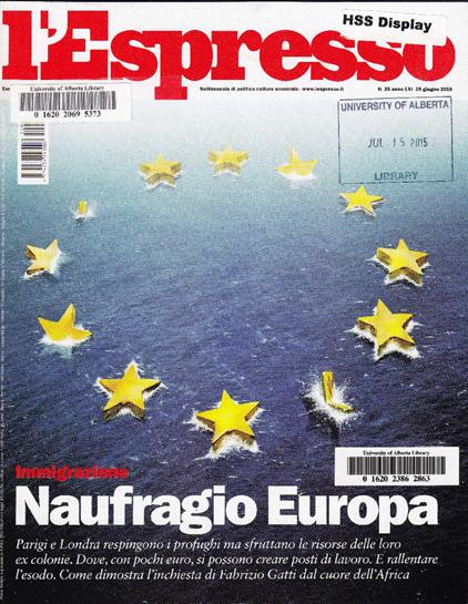 L'Espresso magazine cover (June 25, 2015)