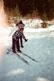 Refugee child skiing